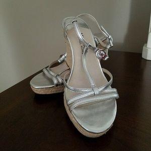 MK Silver Espadrilles Sandals